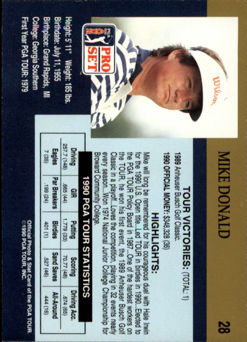 1990 Pro Set #28 Mike Donald RC back image