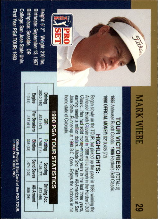 1990 Pro Set #29 Mark Wiebe RC back image