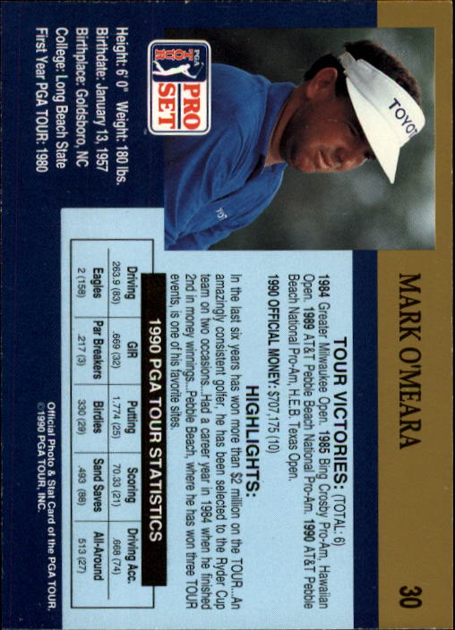 1990 Pro Set #30 Mark O'Meara back image