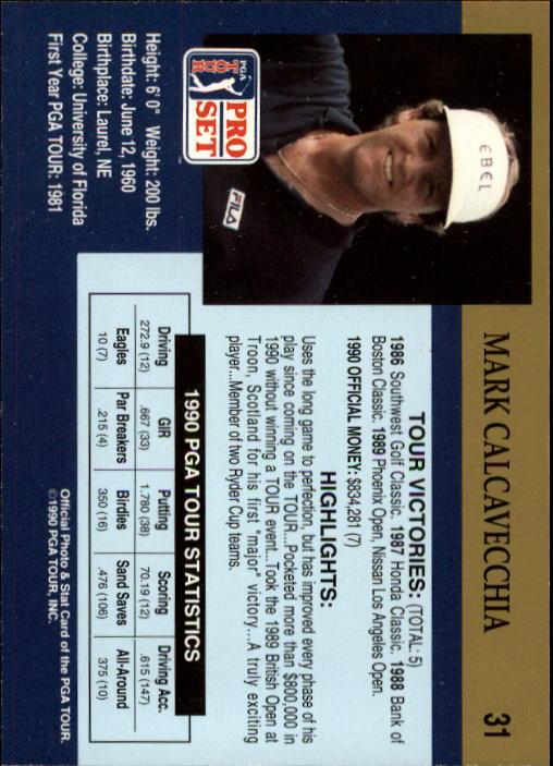 1990 Pro Set #31 Mark Calcavecchia RC back image