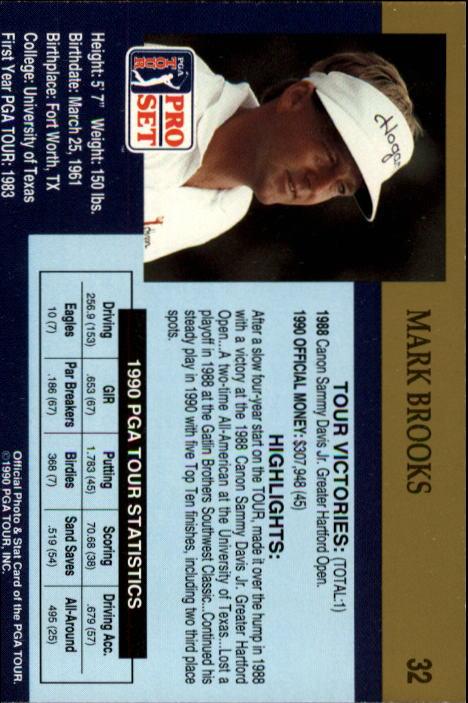 1990 Pro Set #32 Mark Brooks RC back image