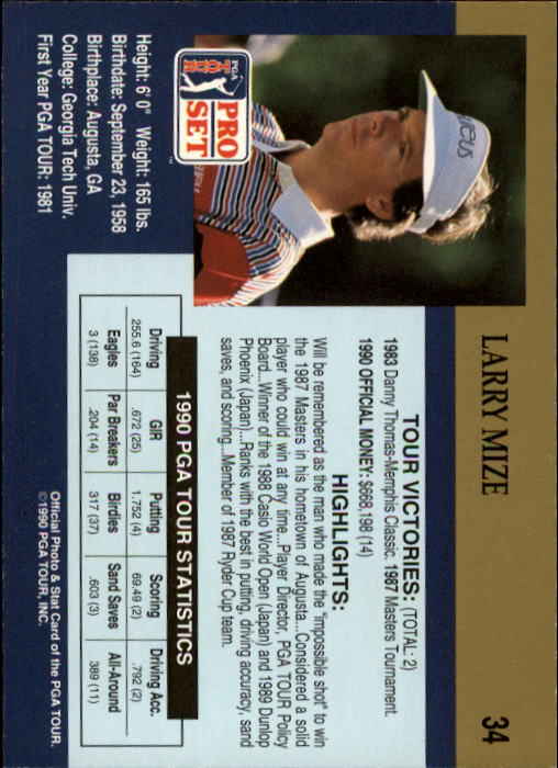 1990 Pro Set #34 Larry Mize RC back image