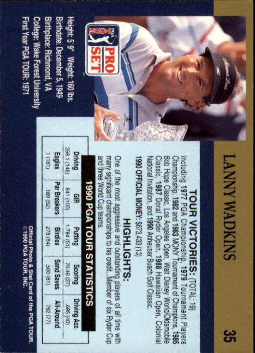 1990 Pro Set #35 Lanny Wadkins back image