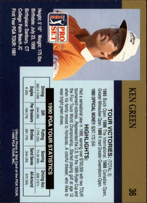 1990 Pro Set #36 Ken Green RC back image