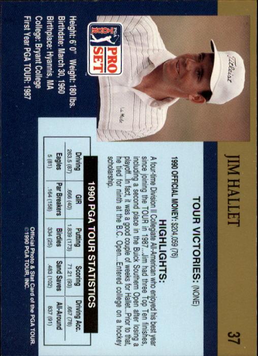1990 Pro Set #37 Jim Hallet RC back image
