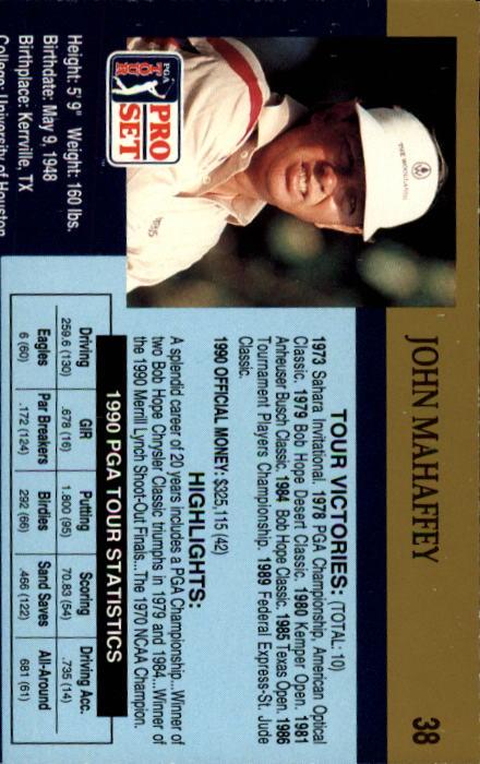 1990 Pro Set #38 John Mahaffey back image