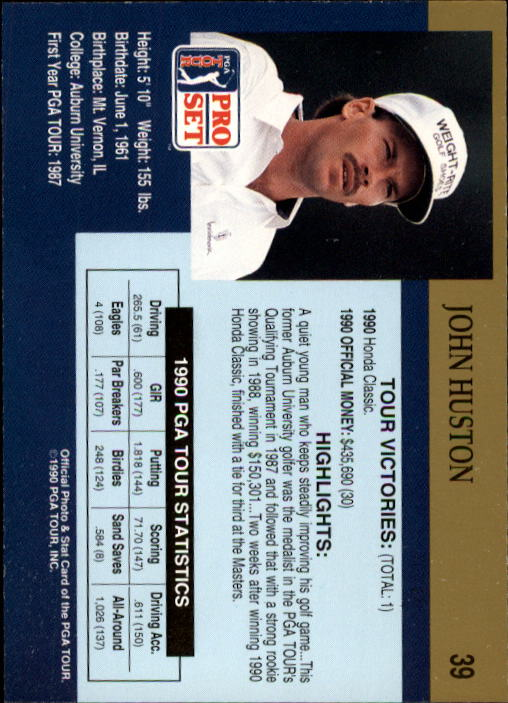 1990 Pro Set #39 John Huston RC back image
