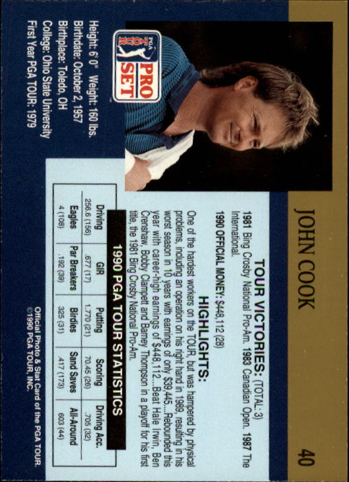 1990 Pro Set #40 John Cook back image