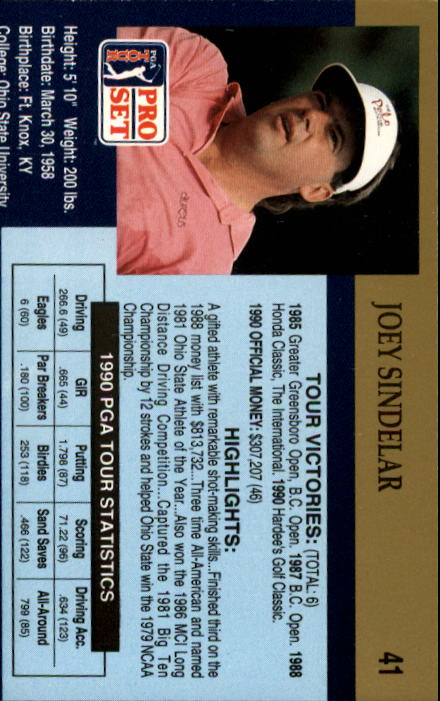 1990 Pro Set #41 Joey Sindelar RC back image