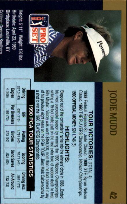 1990 Pro Set #42 Jodie Mudd RC back image