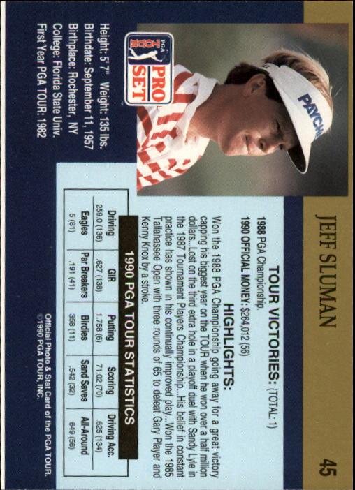 1990 Pro Set #45 Jeff Sluman RC back image