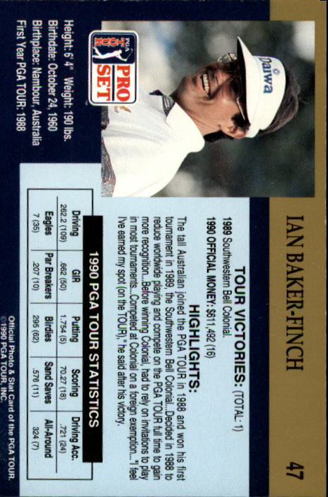 1990 Pro Set #47 Ian Baker-Finch RC back image