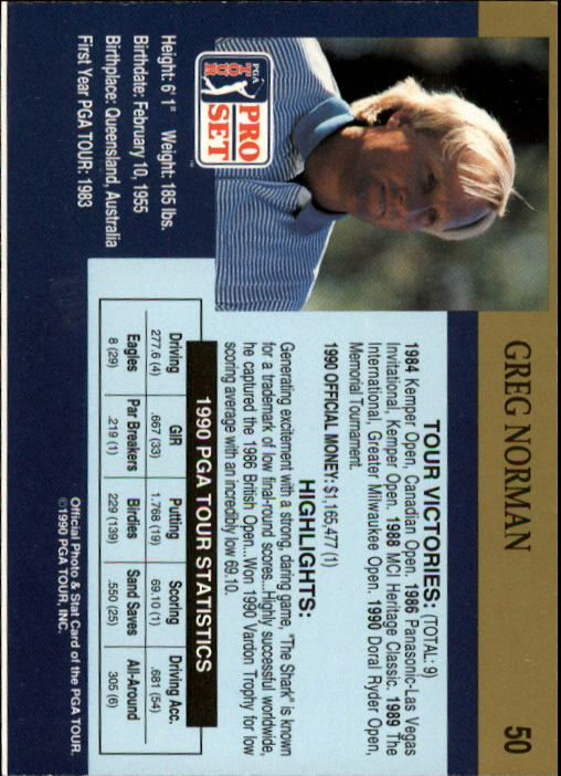 1990 Pro Set #50 Greg Norman RC back image