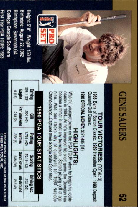 1990 Pro Set #52 Gene Sauers RC back image