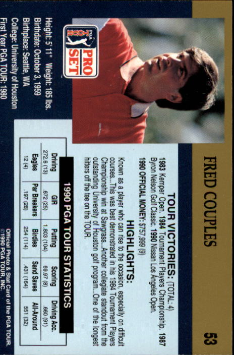 1990 Pro Set #53 Fred Couples back image