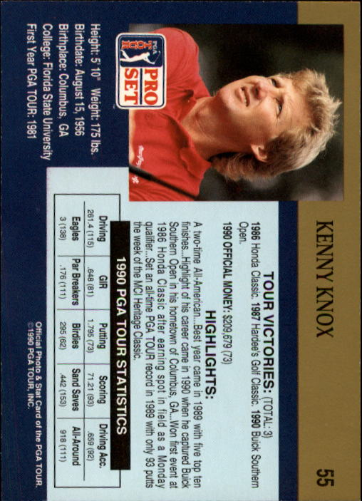 1990 Pro Set #55 Kenny Knox RC back image
