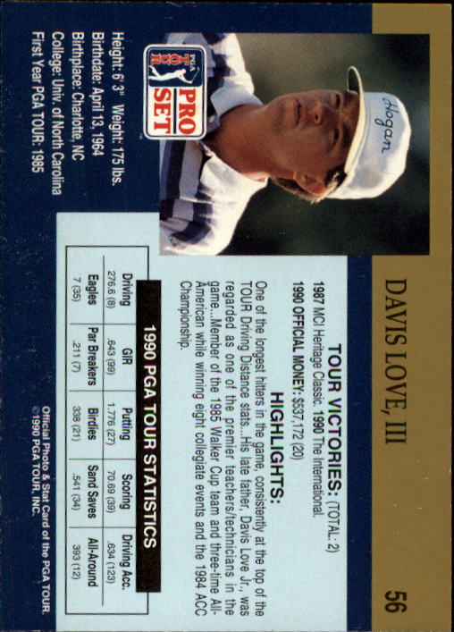 1990 Pro Set #56 Davis Love III RC back image