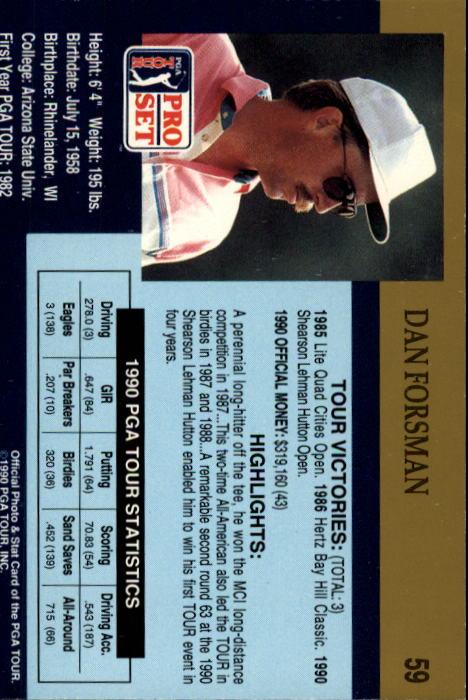1990 Pro Set #59 Dan Forsman RC back image
