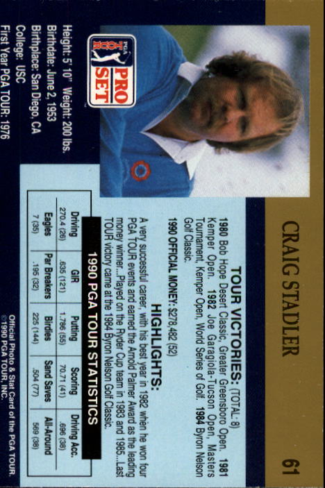 1990 Pro Set #61 Craig Stadler back image