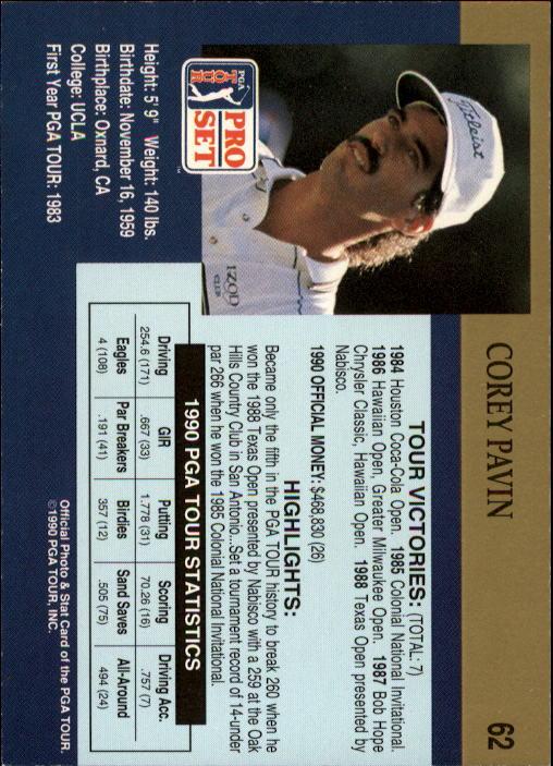 1990 Pro Set #62 Corey Pavin RC back image