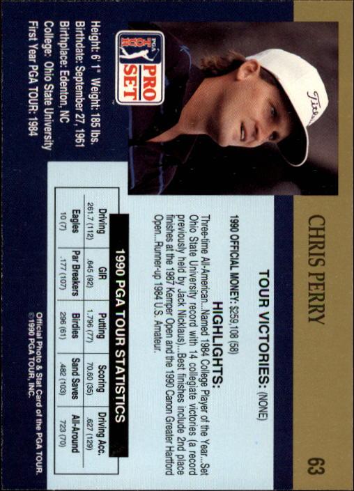 1990 Pro Set #63 Chris Perry RC back image