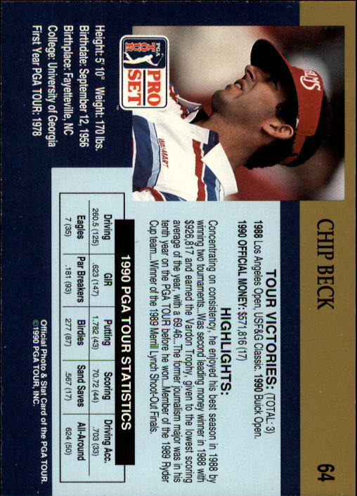 1990 Pro Set #64 Chip Beck RC back image