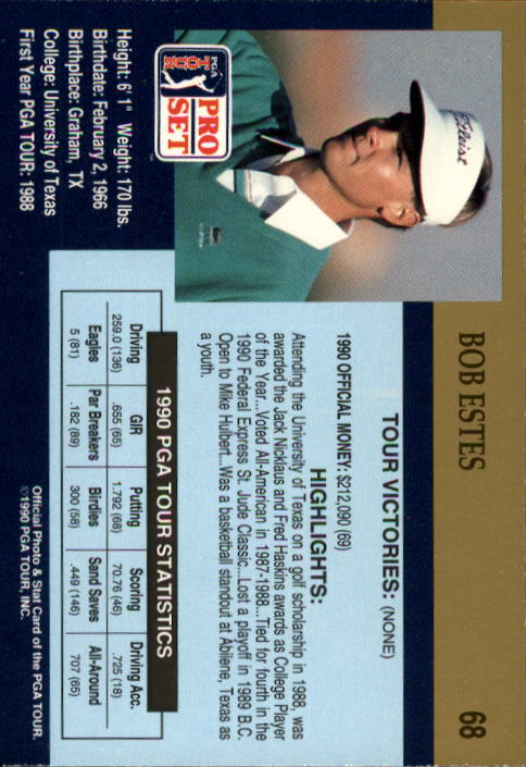 1990 Pro Set #68 Bob Estes RC back image