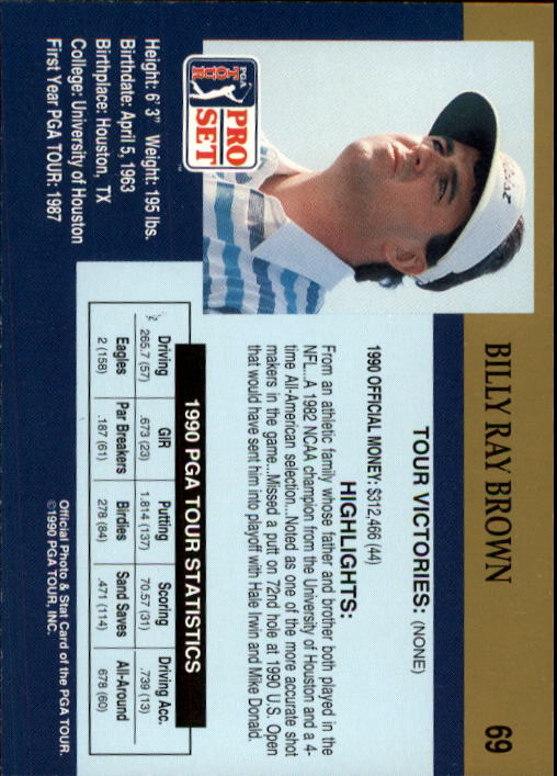 1990 Pro Set #69 Billy Ray Brown RC back image