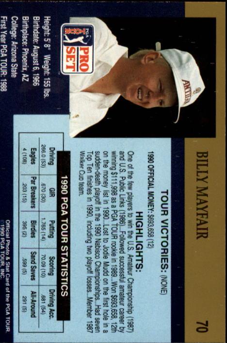 1990 Pro Set #70 Billy Mayfair RC back image