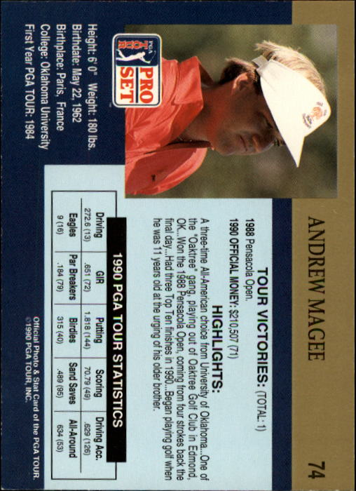 1990 Pro Set #74 Andrew Magee RC back image