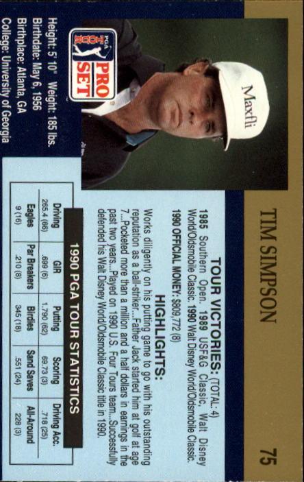 1990 Pro Set #75 Tim Simpson RC back image