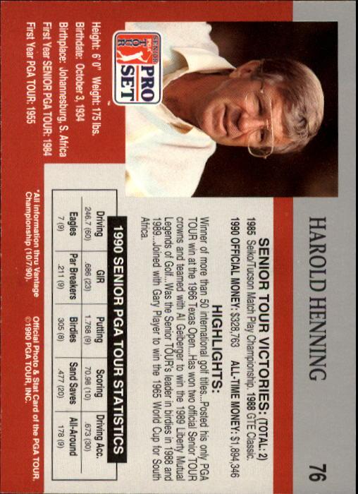 1990 Pro Set #76 Harold Henning RC back image