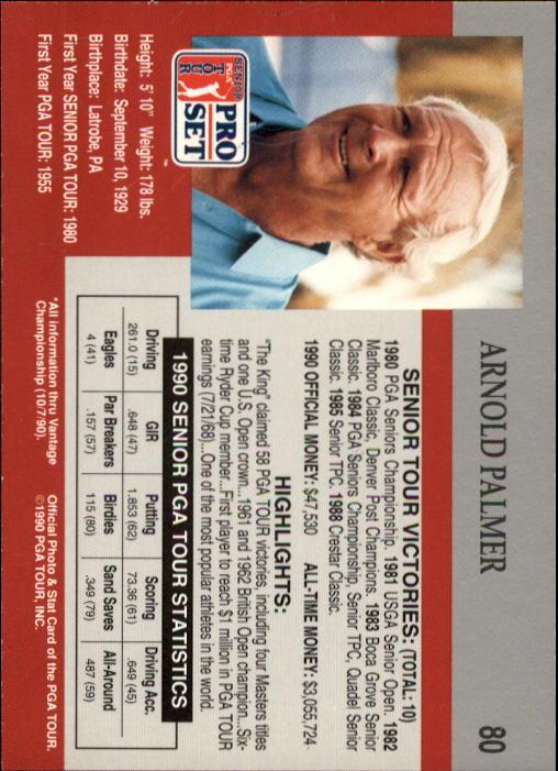 1990 Pro Set #80 Arnold Palmer RC back image