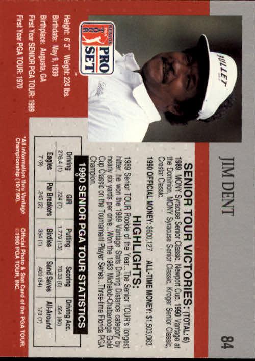 1990 Pro Set #84 Jim Dent RC back image