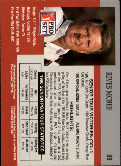 1990 Pro Set #89 Rives McBee RC back image