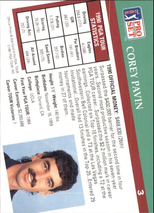 1991 Pro Set #3 Corey Pavin back image