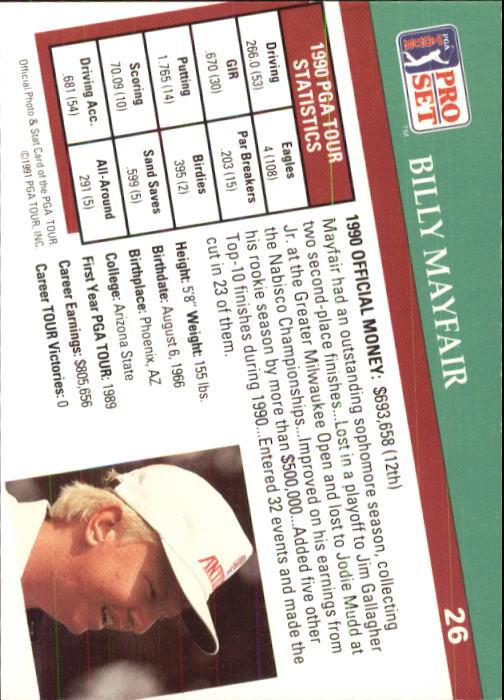 1991 Pro Set #26 Billy Mayfair back image