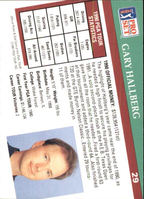 1991 Pro Set #29 Gary Hallberg RC back image