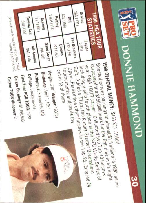 1991 Pro Set #30 Donnie Hammond RC back image