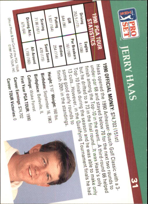 1991 Pro Set #31 Jerry Haas RC back image