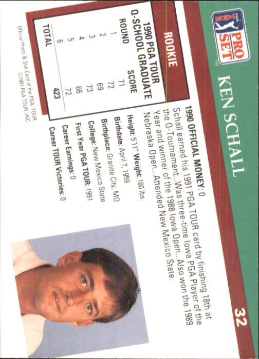 1991 Pro Set #32 Ken Schall RC back image