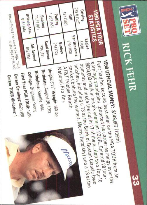 1991 Pro Set #33 Rick Fehr RC back image