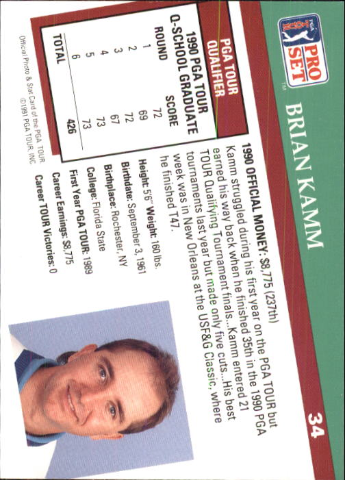 1991 Pro Set #34 Brian Kamm RC back image