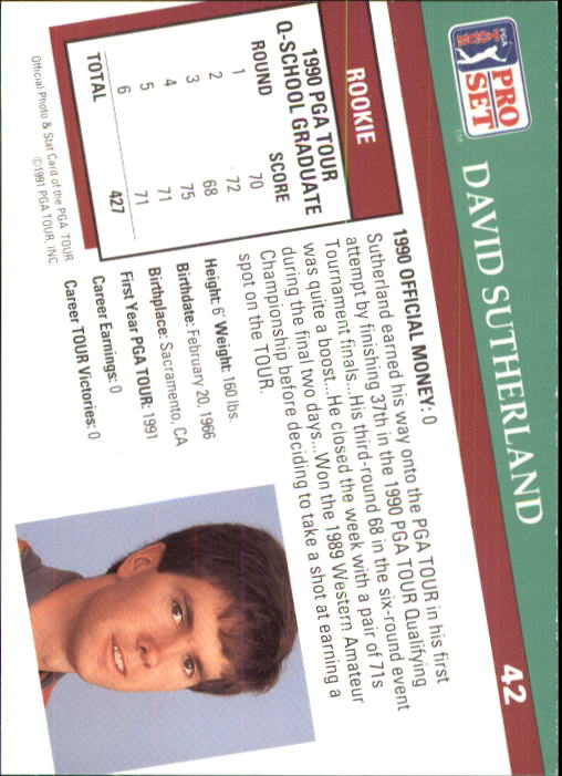 1991 Pro Set #42 David Sutherland RC back image