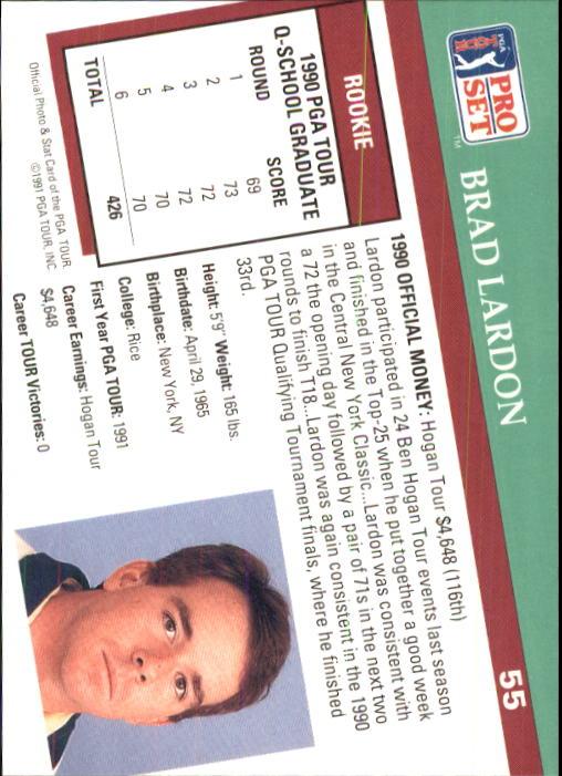 1991 Pro Set #55 Brad Lardon RC back image