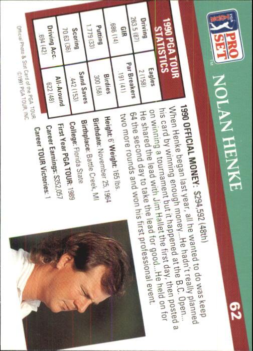 1991 Pro Set #62 Nolan Henke back image