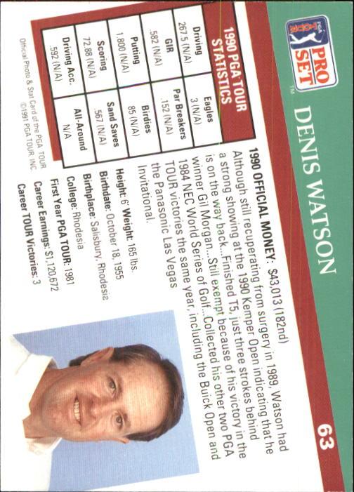 1991 Pro Set #63 Denis Watson RC back image