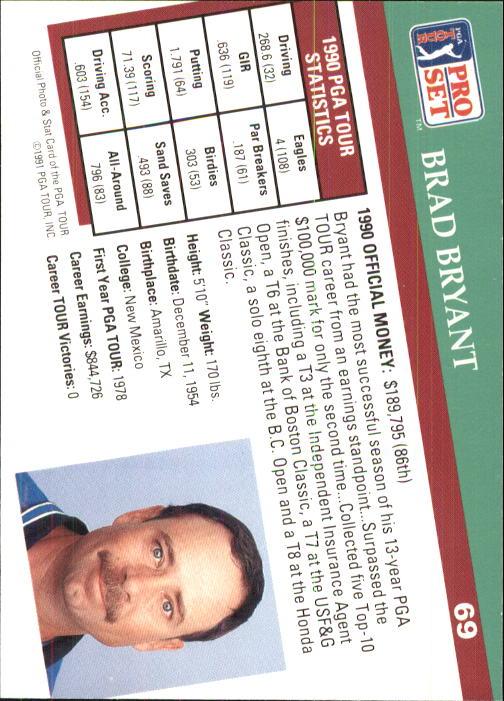 1991 Pro Set #69 Brad Bryant RC back image