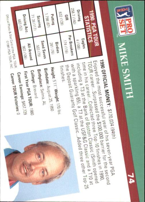 1991 Pro Set #74 Mike Smith RC back image
