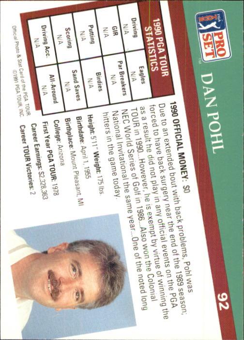 1991 Pro Set #92 Dan Pohl back image
